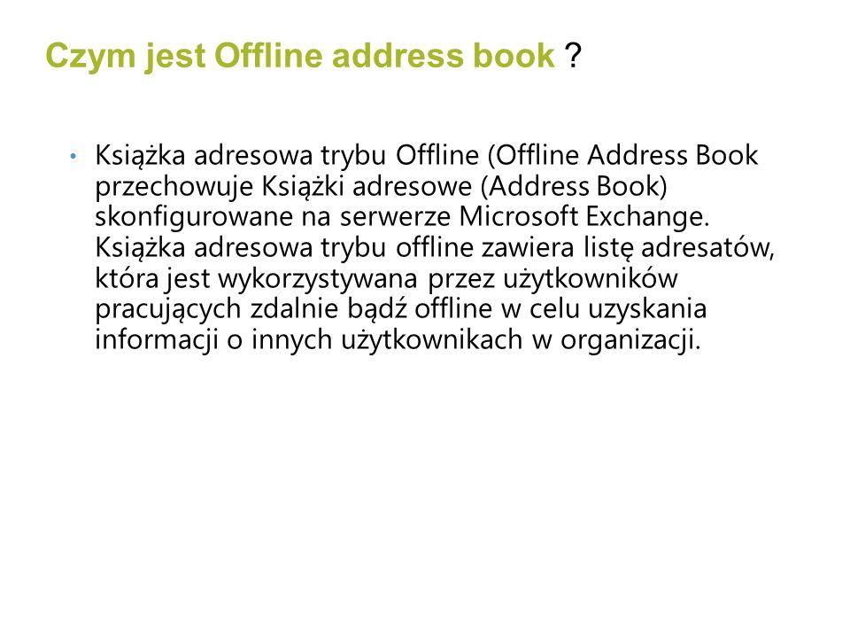 Pojedyncza książka dla każdego użytkownika Domyślne ścieżki C:\Documents and Settings\ \Local Settings\Application Data\Microsoft\Outlook C:\Users\ \AppData\Local\Microsoft\Outlook\Offline Address Books Odszukanie Offline Address Book przez Auto Discovery Outlook i OAB