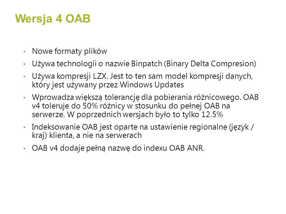 Pełne pobranie Zawiera pełną kopie OAB Pobranie, rozpakowanie do plików tymczasowych, zmiana nazwy na docelowe Różnicowe pobieranie Zawiera zmiany od czasu wygenerowania ostatniej/poprzedniej OAB Pobranie kilkunastu plików Binpatch.oab Zmiany są dodawane do pliku Udetails.oab Ponowne wygenerowanie pozostałych plików Pobieranie OAB