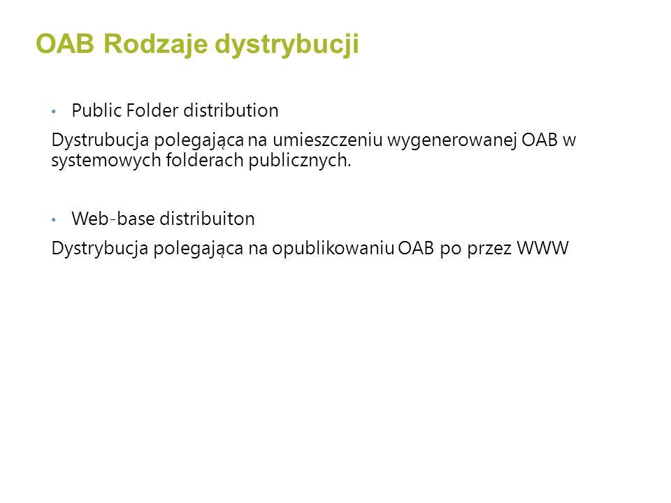 Public Folder distribution Dystrubucja polegająca na umieszczeniu wygenerowanej OAB w systemowych folderach publicznych.