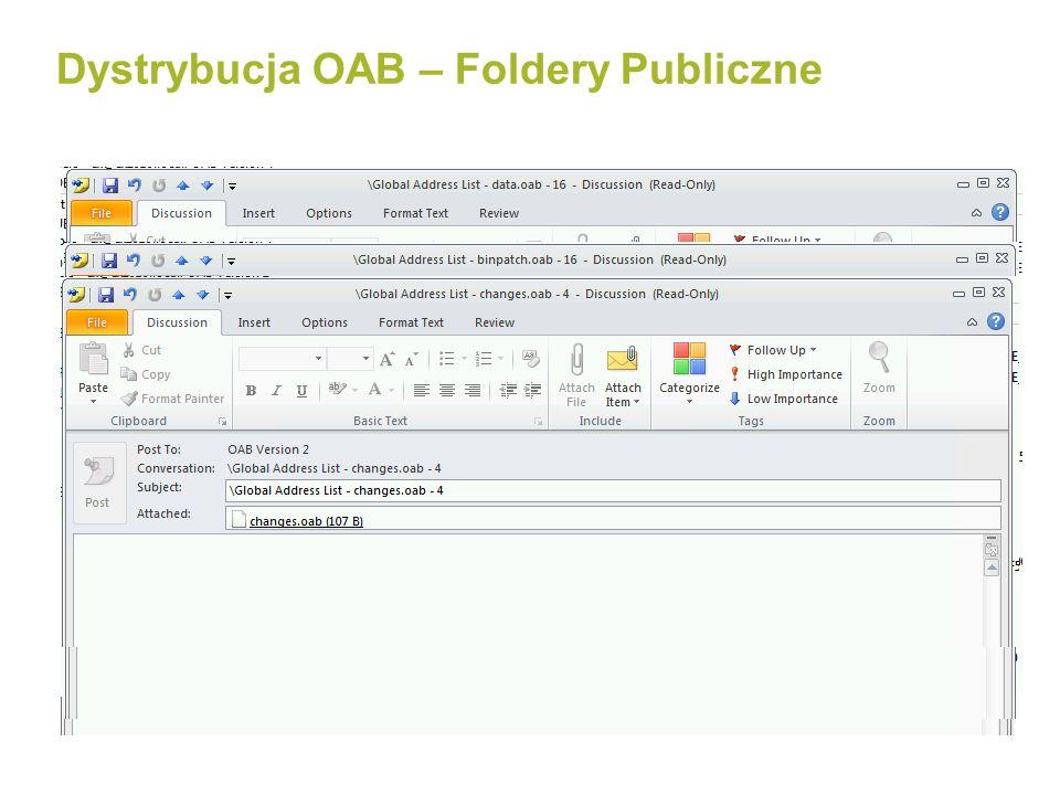 Domyślny czas generacji OAB timing 02.01 16:00 Nowa skrzynka została utworzona 02.01 16:00 Nowa skrzynka została utworzona 03.01 05:00 OAB jest generowana na serwerze MBX 03.01 05:00 OAB jest generowana na serwerze MBX 03.01 10:00 Outlook sprawdza/pobiera OAB 03.01 10:00 Outlook sprawdza/pobiera OAB 03.01 12:00 CAS pobiera nową OAB 03.01 12:00 CAS pobiera nową OAB 04.01 09:00 Użytkownik nadal nie widzi nowo utworzonej skrzynki 04.01 09:00 Użytkownik nadal nie widzi nowo utworzonej skrzynki 02.01 12:00 04.01 12:00 Domyślne pobieranie co 24h Domyślnie pobierane co 8 godzin USERS COMPLAIN !!.
