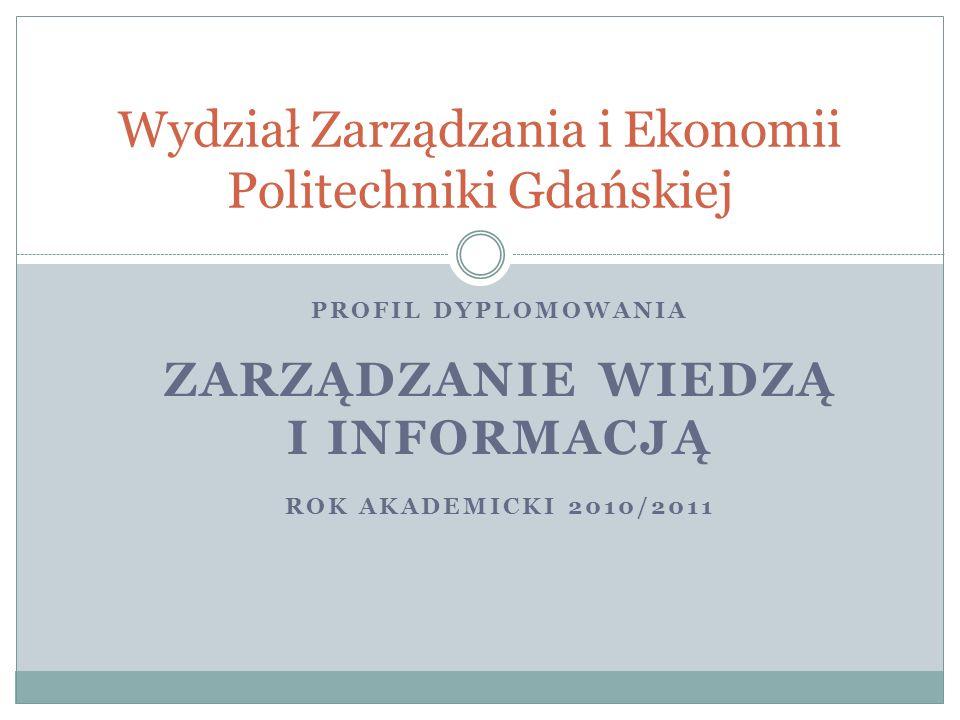 PROFIL DYPLOMOWANIA ZARZĄDZANIE WIEDZĄ I INFORMACJĄ ROK AKADEMICKI 2010/2011 Wydział Zarządzania i Ekonomii Politechniki Gdańskiej