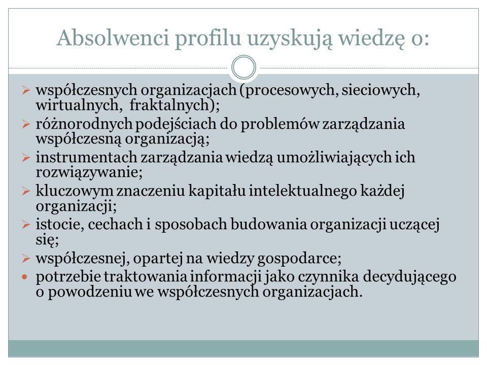 Absolwenci profilu uzyskują wiedzę o: współczesnych organizacjach (procesowych, sieciowych, wirtualnych, fraktalnych); różnorodnych podejściach do pro