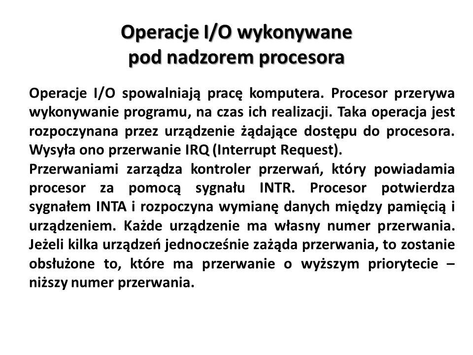 Operacje I/O wykonywane pod nadzorem procesora Operacje I/O spowalniają pracę komputera. Procesor przerywa wykonywanie programu, na czas ich realizacj
