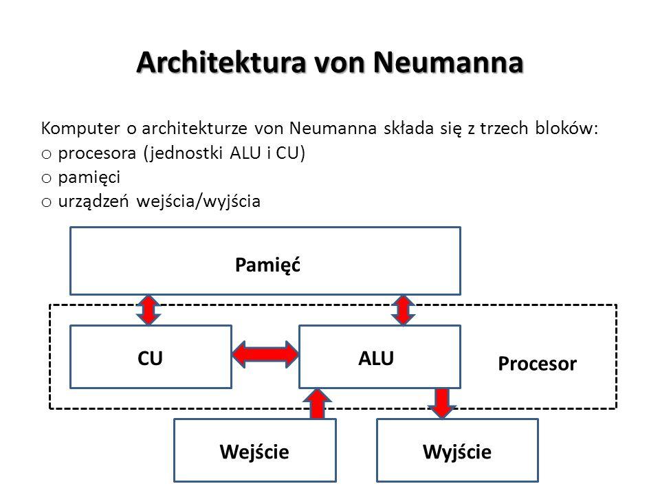 Architektura von Neumanna Komputer o architekturze von Neumanna składa się z trzech bloków: o procesora (jednostki ALU i CU) o pamięci o urządzeń wejś