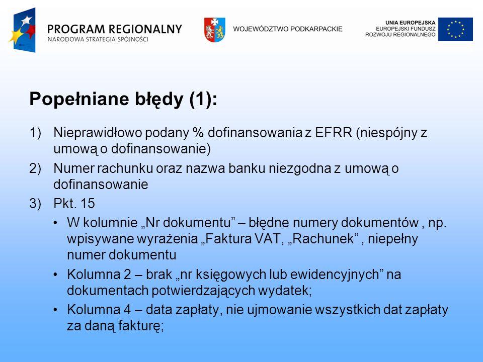 Popełniane błędy (1): 1)Nieprawidłowo podany % dofinansowania z EFRR (niespójny z umową o dofinansowanie) 2)Numer rachunku oraz nazwa banku niezgodna z umową o dofinansowanie 3)Pkt.