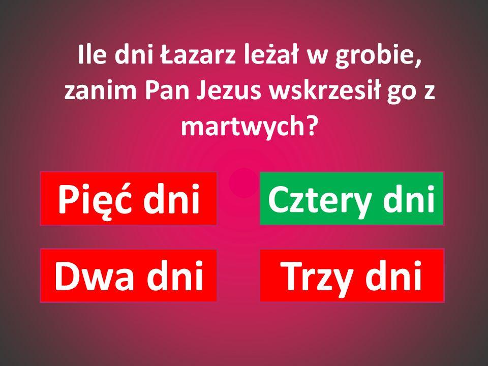 Ile dni Łazarz leżał w grobie, zanim Pan Jezus wskrzesił go z martwych? Pięć dni Cztery dni Dwa dniTrzy dni