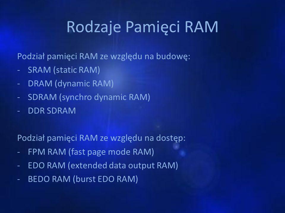 Rodzaje Pamięci RAM Podział pamięci RAM ze względu na budowę: -SRAM (static RAM) -DRAM (dynamic RAM) -SDRAM (synchro dynamic RAM) -DDR SDRAM Podział p