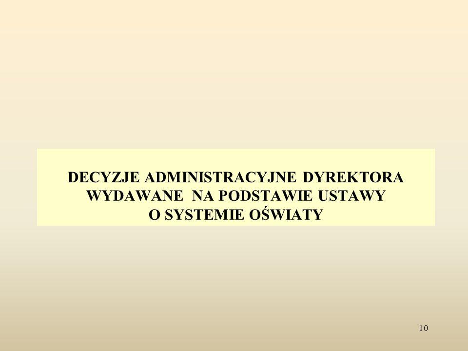 DECYZJE ADMINISTRACYJNE DYREKTORA WYDAWANE NA PODSTAWIE USTAWY O SYSTEMIE OŚWIATY 10