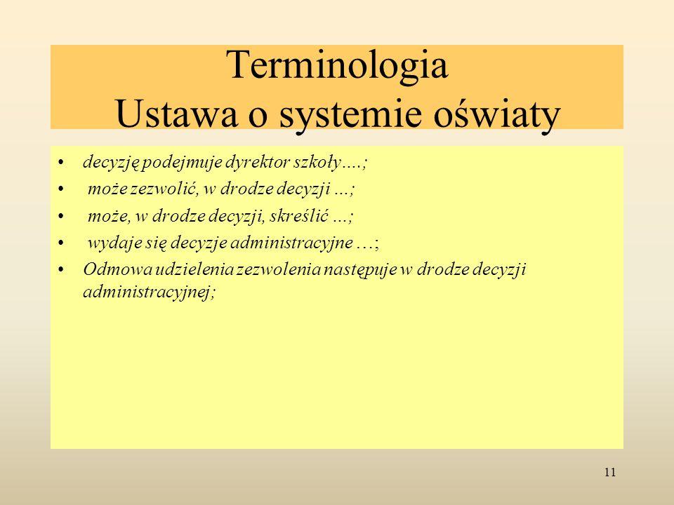 Terminologia Ustawa o systemie oświaty decyzję podejmuje dyrektor szkoły….; może zezwolić, w drodze decyzji …; może, w drodze decyzji, skreślić …; wyd