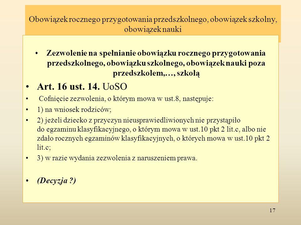 Obowiązek rocznego przygotowania przedszkolnego, obowiązek szkolny, obowiązek nauki Art.19.
