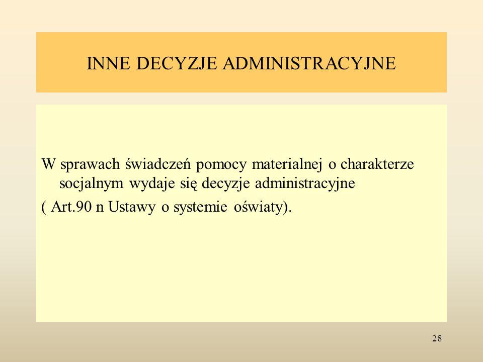 INNE DECYZJE ADMINISTRACYJNE W sprawach świadczeń pomocy materialnej o charakterze socjalnym wydaje się decyzje administracyjne ( Art.90 n Ustawy o sy