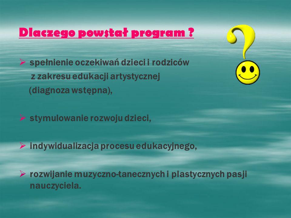 Dlaczego powstał program ? spełnienie oczekiwań dzieci i rodziców z zakresu edukacji artystycznej (diagnoza wstępna), stymulowanie rozwoju dzieci, ind