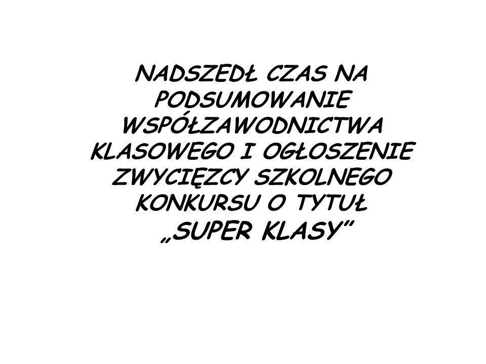 Tytu ł SUPER KLASY otrzymuje klasa …