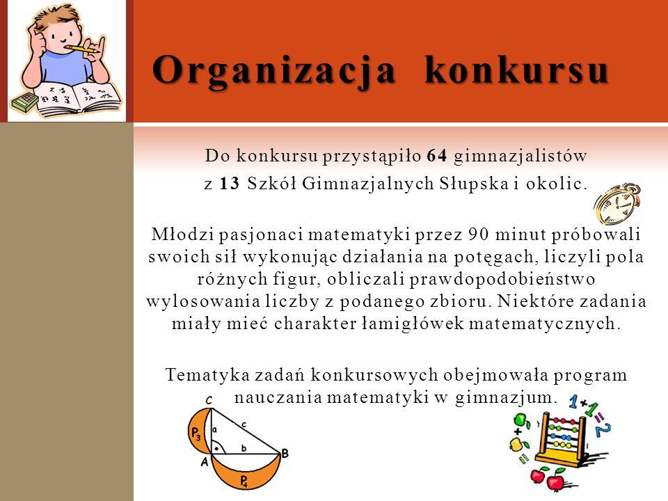 Do konkursu przystąpiło 64 gimnazjalistów z 13 Szkół Gimnazjalnych Słupska i okolic. Młodzi pasjonaci matematyki przez 90 minut próbowali swoich sił w