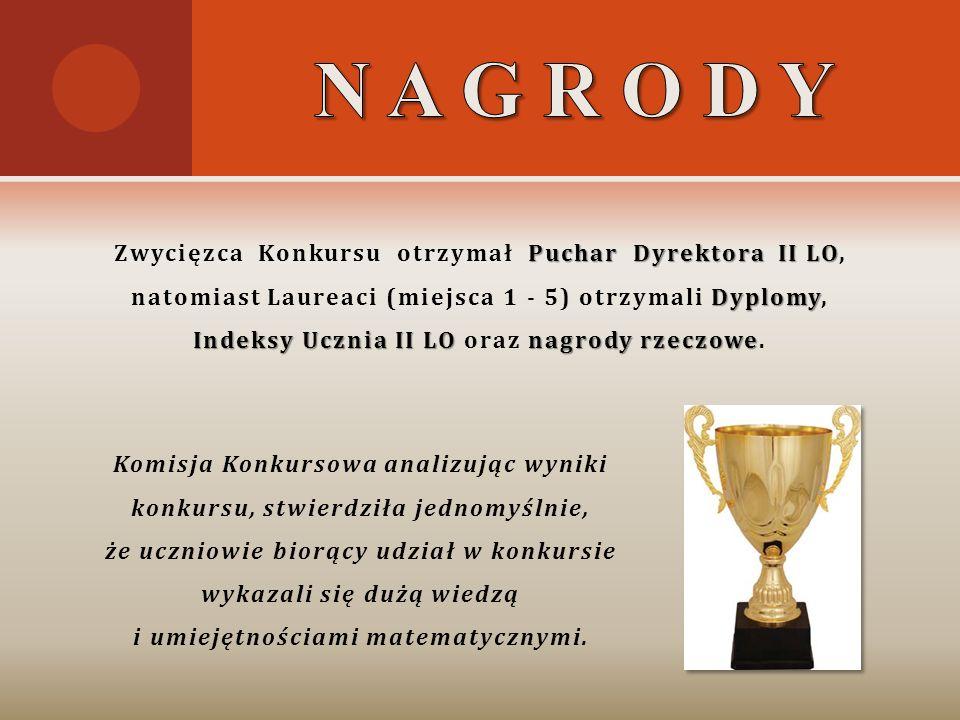 Puchar Dyrektora II LO Zwycięzca Konkursu otrzymał Puchar Dyrektora II LO, Dyplomy Indeksy Ucznia II LOnagrody rzeczowe natomiast Laureaci (miejsca 1
