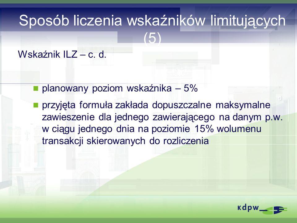 Sposób liczenia wskaźników limitujących (5) Wskaźnik ILZ – c.