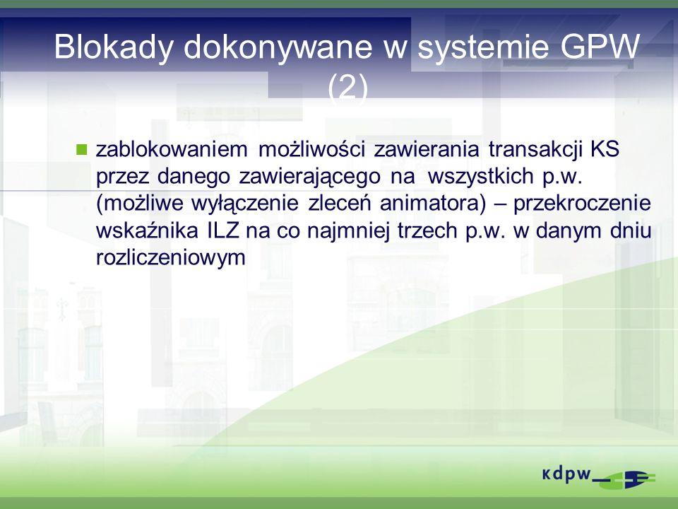 Blokady dokonywane w systemie GPW (2) zablokowaniem możliwości zawierania transakcji KS przez danego zawierającego na wszystkich p.w.