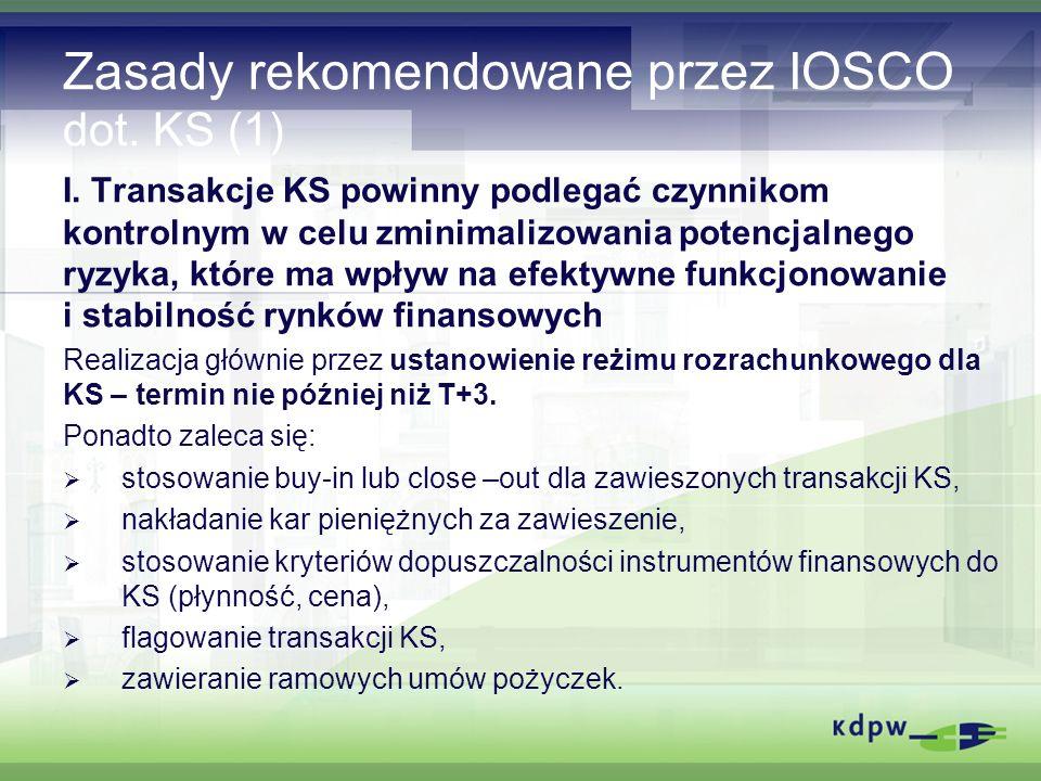 Zasady rekomendowane przez IOSCO dot. KS (1) I.