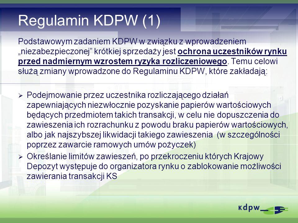 Środki dyscyplinujące Szczególnym środkiem dyscyplinującym odnoszącym się wyłącznie do transakcji KS jest zablokowanie możliwości ich zawierania na rynku regulowanym poprzez blokadę zleceń KS, opartą o wykorzystanie wskaźników LZ i ILZ.