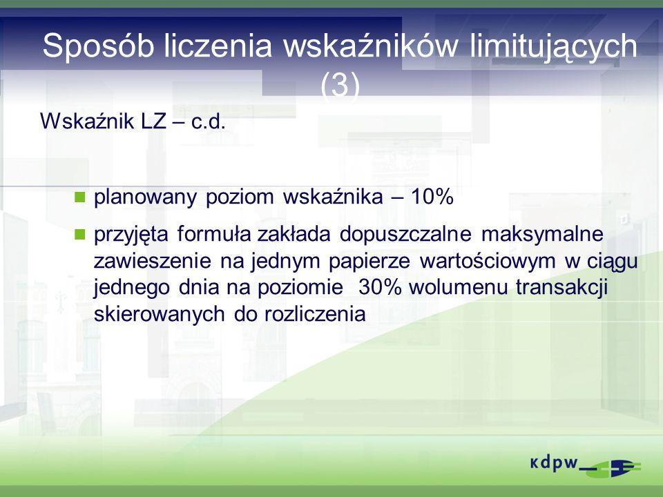 Sposób liczenia wskaźników limitujących (3) Wskaźnik LZ – c.d.