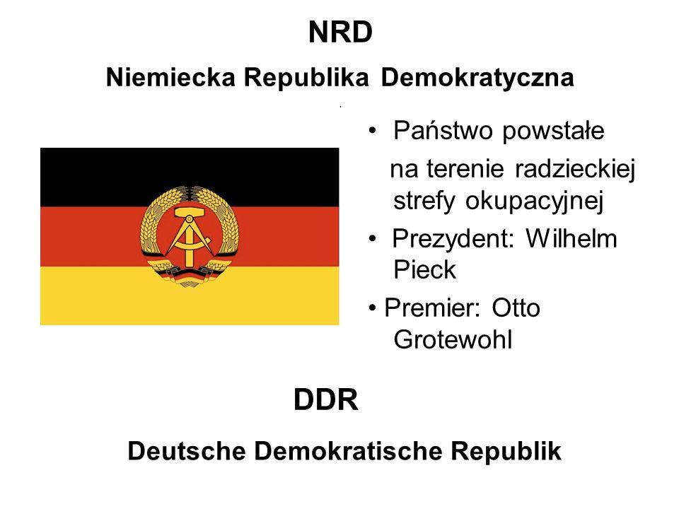 NRD Niemiecka Republika Demokratyczna. Państwo powstałe na terenie radzieckiej strefy okupacyjnej Prezydent: Wilhelm Pieck Premier: Otto Grotewohl DDR