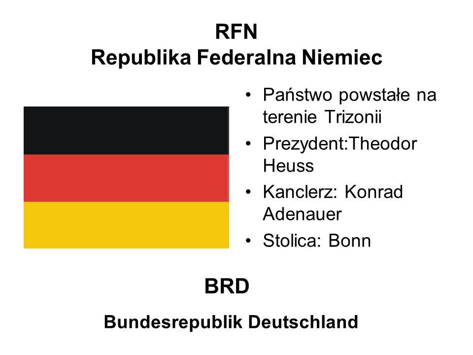 RFN Republika Federalna Niemiec Państwo powstałe na terenie Trizonii Prezydent:Theodor Heuss Kanclerz: Konrad Adenauer Stolica: Bonn BRD Bundesrepubli