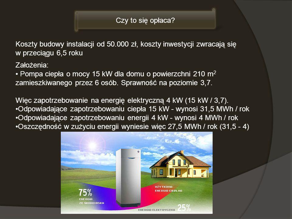 Koszty budowy instalacji od 50.000 zł, koszty inwestycji zwracają się w przeciągu 6,5 roku Czy to się opłaca? Założenia: Pompa ciepła o mocy 15 kW dla