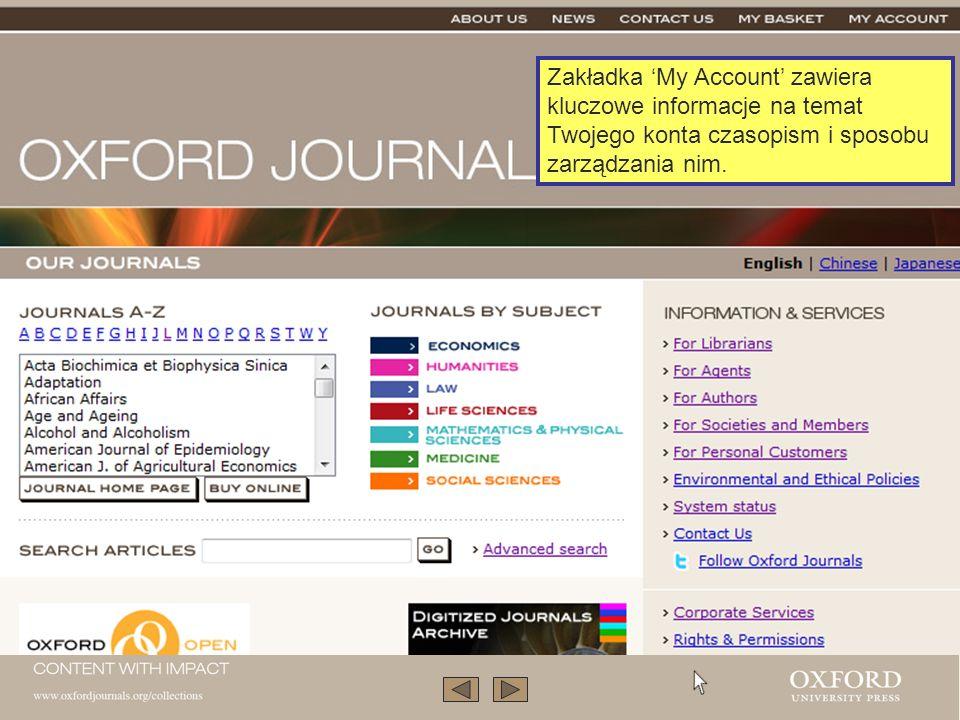 Zakładka My Account zawiera kluczowe informacje na temat Twojego konta czasopism i sposobu zarządzania nim.