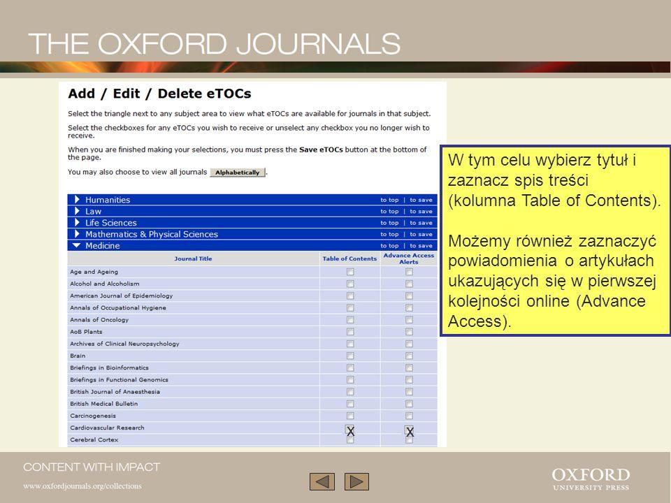 W tym celu wybierz tytuł i zaznacz spis treści (kolumna Table of Contents).
