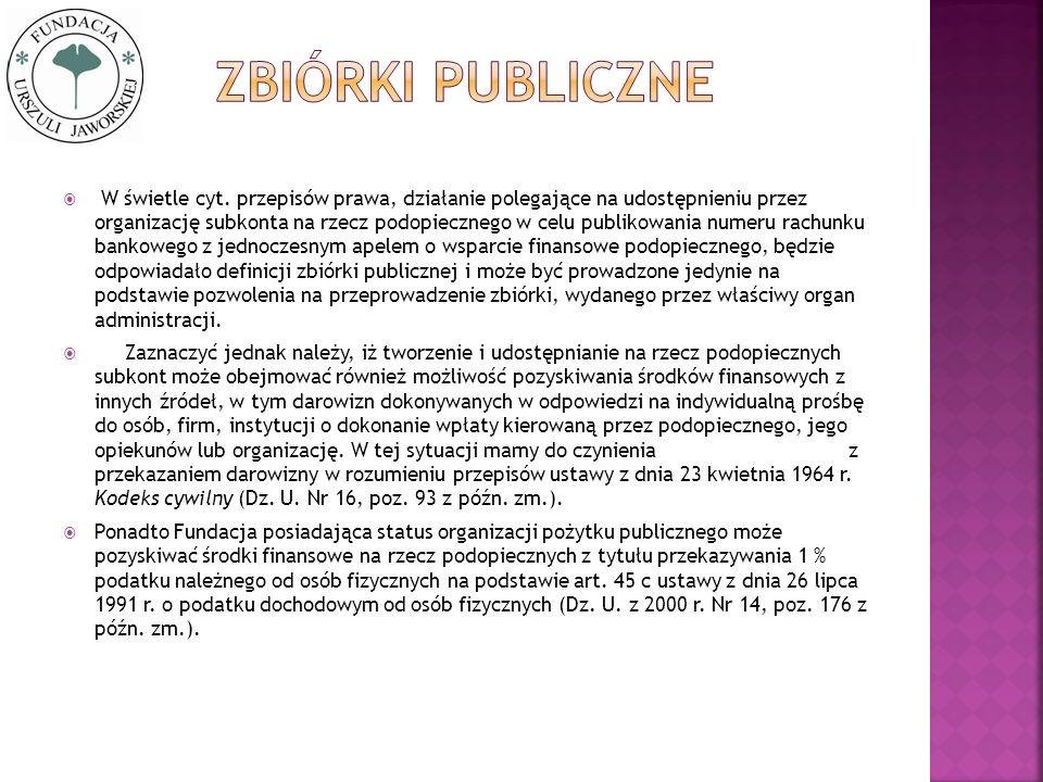 W świetle cyt. przepisów prawa, działanie polegające na udostępnieniu przez organizację subkonta na rzecz podopiecznego w celu publikowania numeru rac