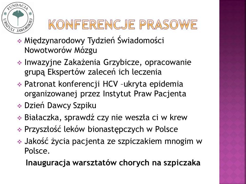 Międzynarodowy Tydzień Świadomości Nowotworów Mózgu Inwazyjne Zakażenia Grzybicze, opracowanie grupą Ekspertów zaleceń ich leczenia Patronat konferenc