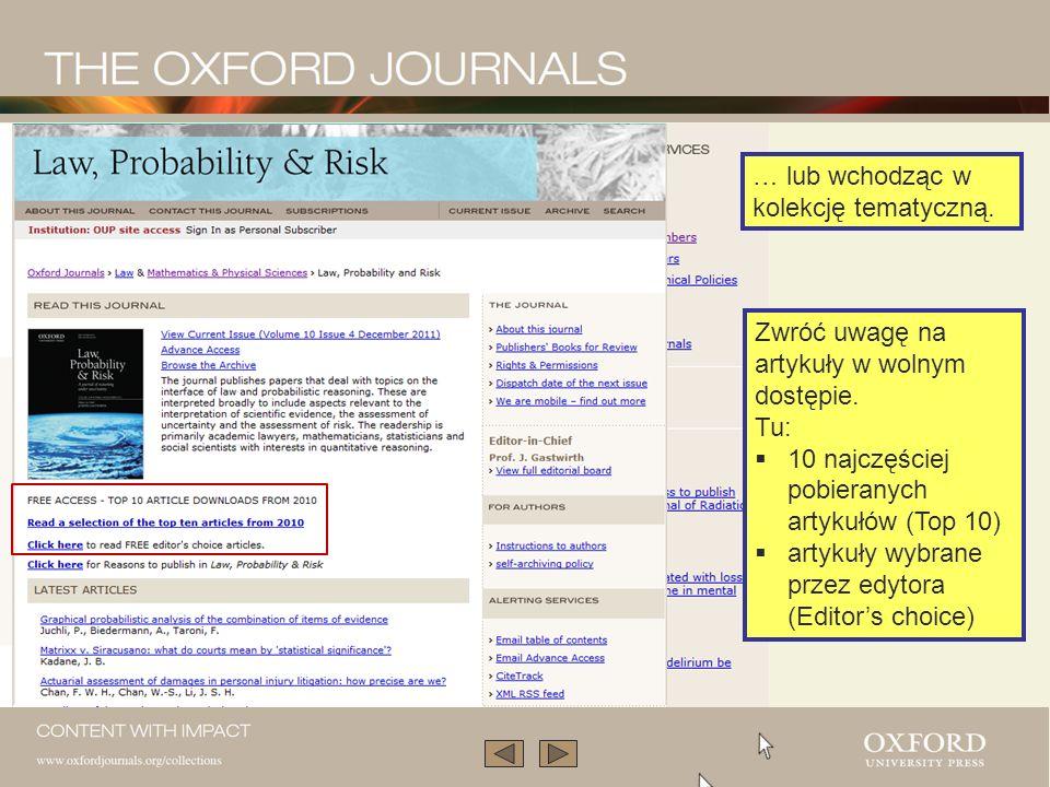 … lub wchodząc w kolekcję tematyczną.Zwróć uwagę na artykuły w wolnym dostępie.