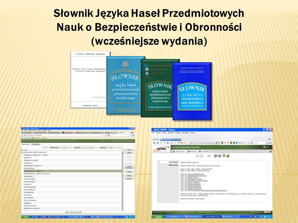 Słownik Języka Haseł Przedmiotowych Nauk o Bezpieczeństwie i Obronności (wcześniejsze wydania)