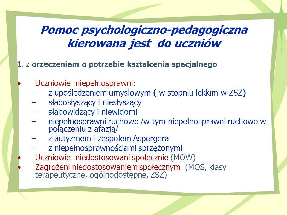 Pomoc psychologiczno-pedagogiczna kierowana jest do uczniów 1. z orzeczeniem o potrzebie kształcenia specjalnego Uczniowie niepełnosprawni: –z upośled