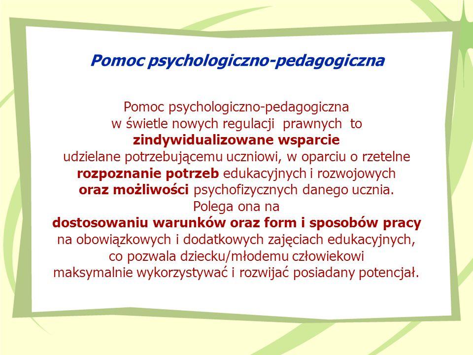 Zadania zespołu 1) ustalenie zakresu, w którym uczeń wymaga pomocy psychologiczno- pedagogicznej z uwagi na indywidualne potrzeby rozwojowe i edukacyjne oraz możliwości psychofizyczne, w tym szczególne uzdolnienia; oznacza to w istocie rzetelne rozpoznanie potrzeb i możliwości ucznia 2) określenie zalecanych form, sposobów i okresów udzielania uczniowi pomocy psychologiczno-pedagogicznej, z uwzględnieniem indywidualnych potrzeb rozwojowych i edukacyjnych oraz możliwości psychofizycznych ucznia, a w przypadku ucznia posiadającego orzeczenie lub opinię – także z uwzględnieniem zaleceń zawartych w orzeczeniu lub opinii; formy zostały dookreślone w rozporządzeniu, sposoby pracy dookreśla sam zespół 3) zaplanowanie działań z zakresu doradztwa edukacyjno- zawodowego i sposobu ich realizacji – w przypadku ucznia gimnazjum i szkoły ponadgimnazjalnej;