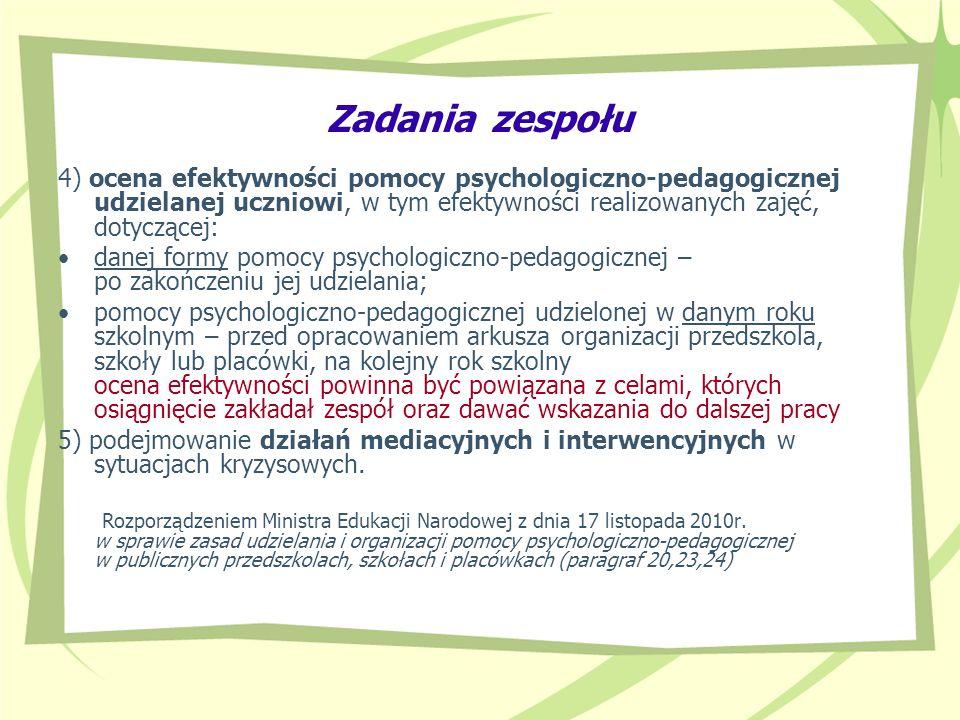 Zadania zespołu 4) ocena efektywności pomocy psychologiczno-pedagogicznej udzielanej uczniowi, w tym efektywności realizowanych zajęć, dotyczącej: dan