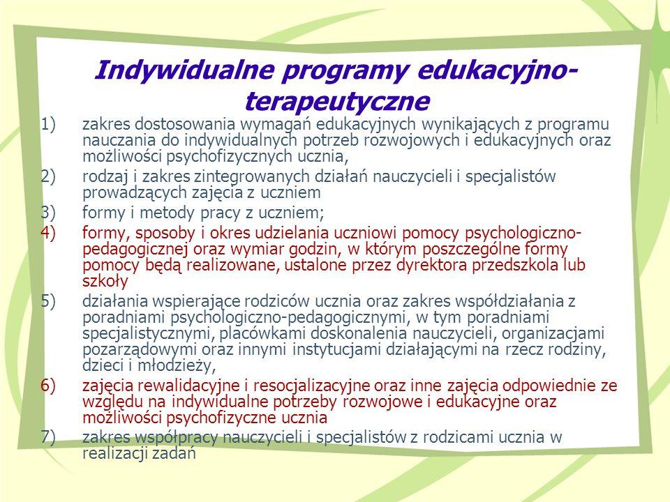 Indywidualne programy edukacyjno- terapeutyczne 1)zakres dostosowania wymagań edukacyjnych wynikających z programu nauczania do indywidualnych potrzeb