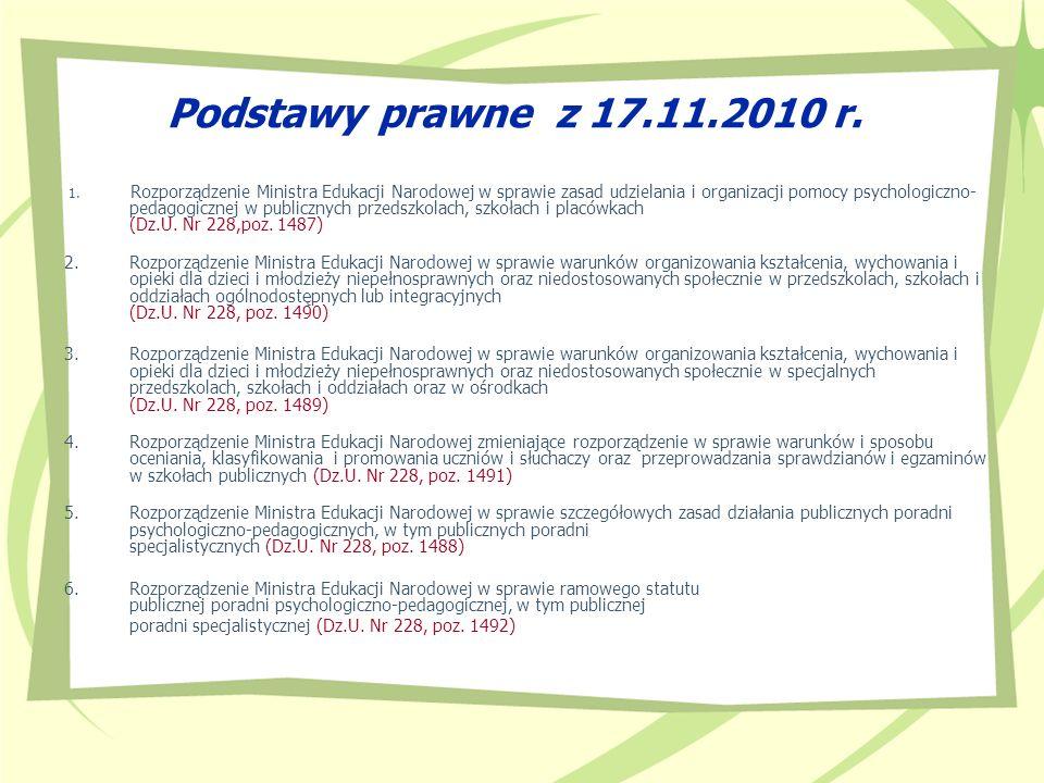 Podstawy prawne z 17.11.2010 r. 1. Rozporządzenie Ministra Edukacji Narodowej w sprawie zasad udzielania i organizacji pomocy psychologiczno- pedagogi