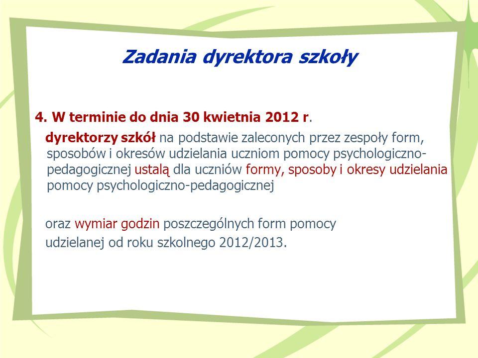 Zadania dyrektora szkoły 4. W terminie do dnia 30 kwietnia 2012 r. dyrektorzy szkół na podstawie zaleconych przez zespoły form, sposobów i okresów udz