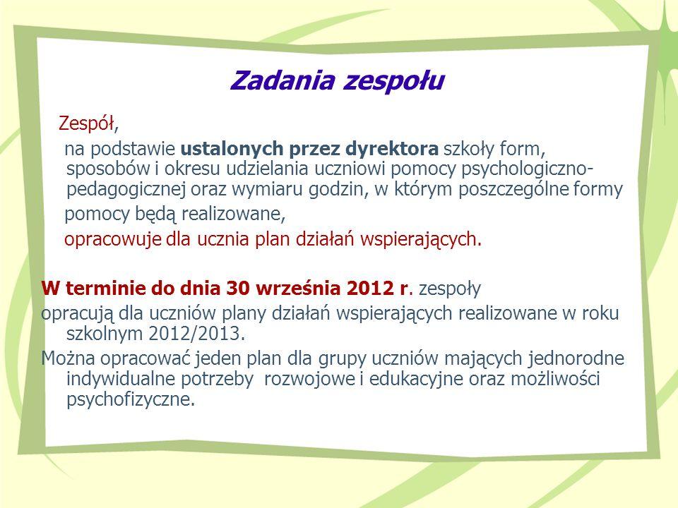 Zadania zespołu Zespół, na podstawie ustalonych przez dyrektora szkoły form, sposobów i okresu udzielania uczniowi pomocy psychologiczno- pedagogiczne