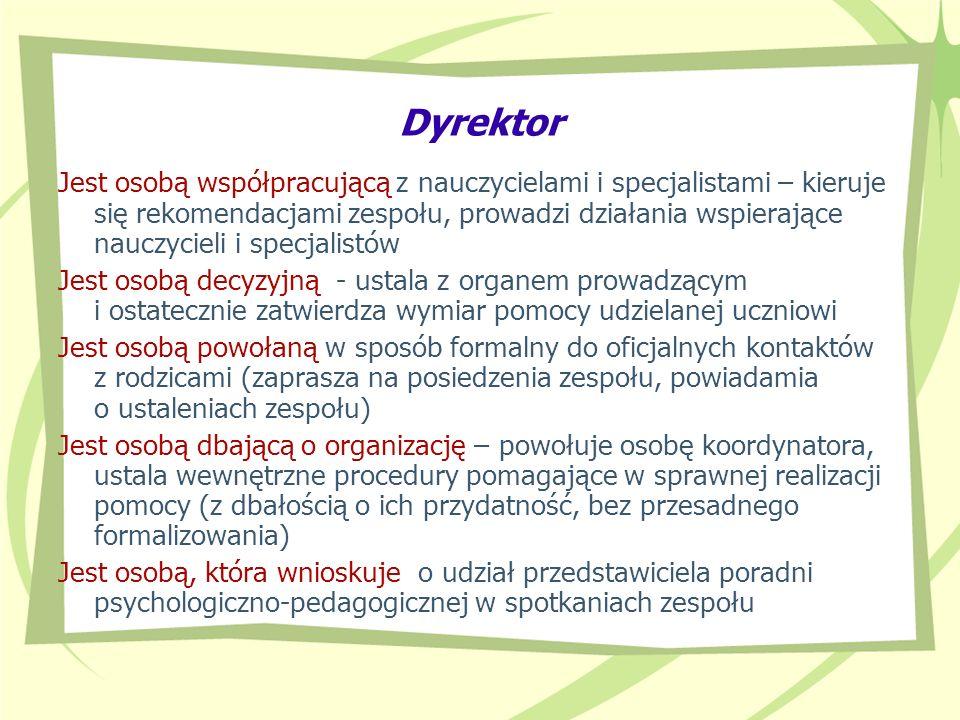 Dyrektor Jest osobą współpracującą z nauczycielami i specjalistami – kieruje się rekomendacjami zespołu, prowadzi działania wspierające nauczycieli i