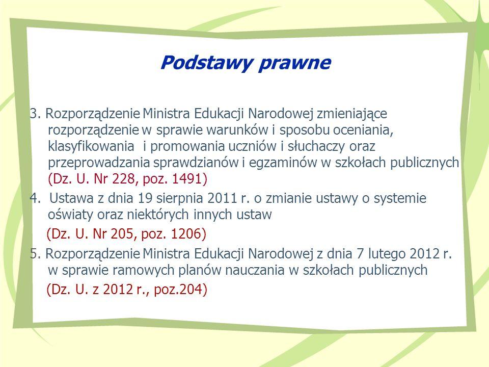 Podstawy prawne 3. Rozporządzenie Ministra Edukacji Narodowej zmieniające rozporządzenie w sprawie warunków i sposobu oceniania, klasyfikowania i prom