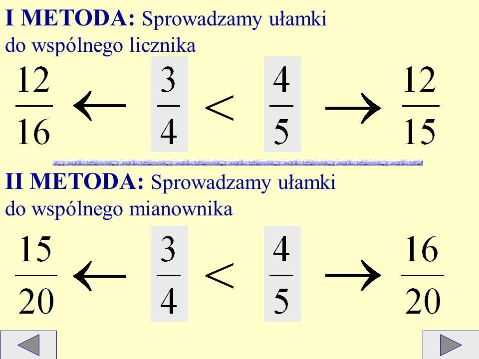 Aby porównać ułamki o różnych licznikach i mianownikach, można je rozszerzyć lub skrócić tak, aby miały jednakowe liczniki albo mianowniki. Przykład 1