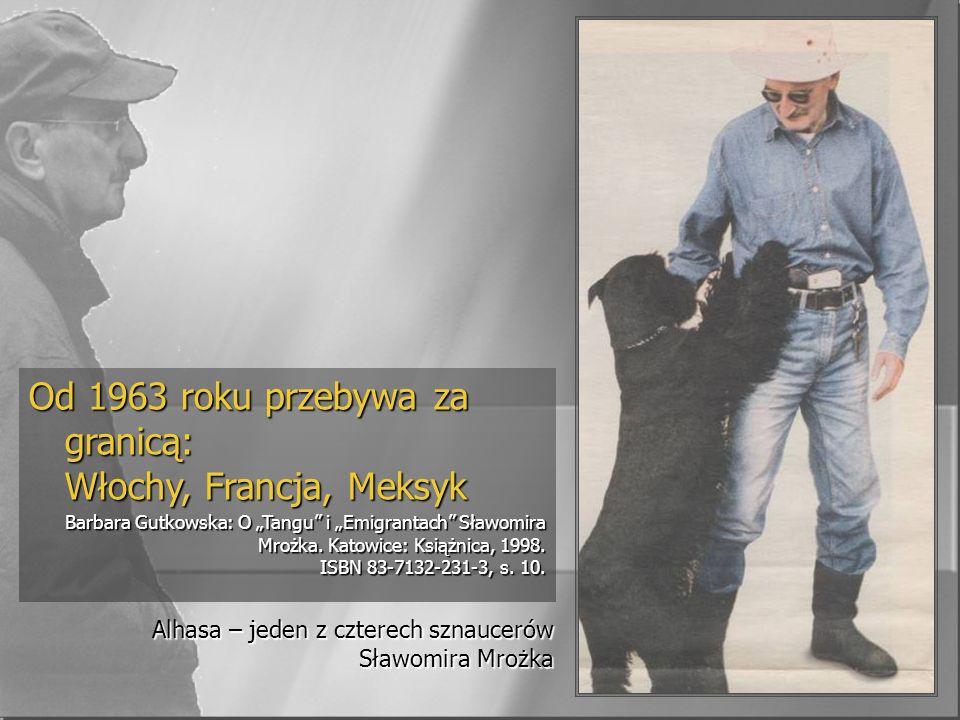 Alhasa – jeden z czterech sznaucerów Sławomira Mrożka Od 1963 roku przebywa za granicą: Włochy, Francja, Meksyk Barbara Gutkowska: O Tangu i Emigrantach Sławomira Mrożka.
