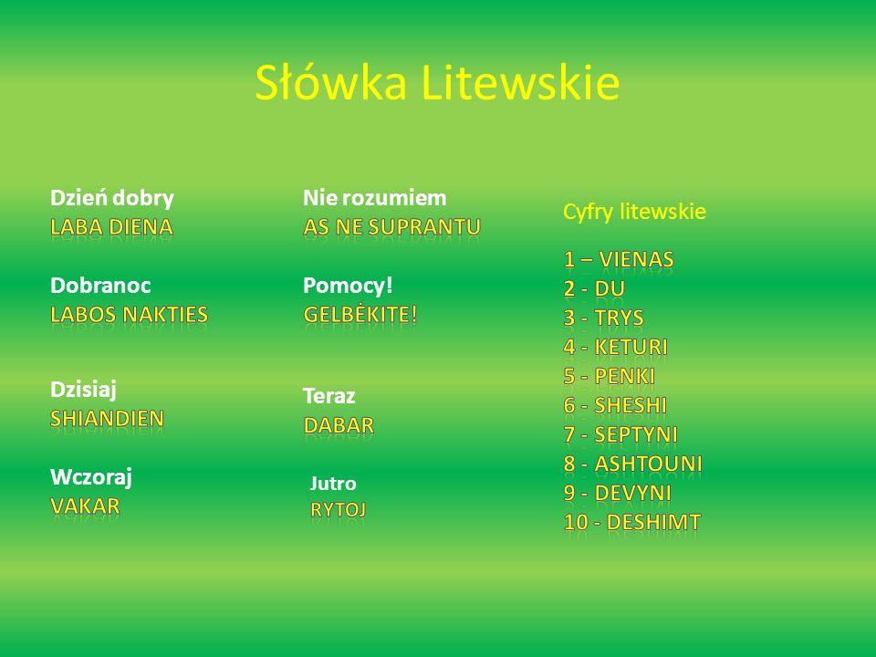 Słówka Litewskie Cyfry litewskie
