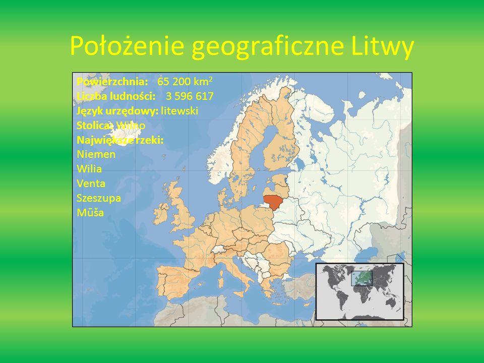 Położenie geograficzne Litwy Powierzchnia: 65 200 km 2 Liczba ludności: 3 596 617 Język urzędowy: litewski Stolica: Wilno Największe rzeki: Niemen Wilia Venta Szeszupa Mūša