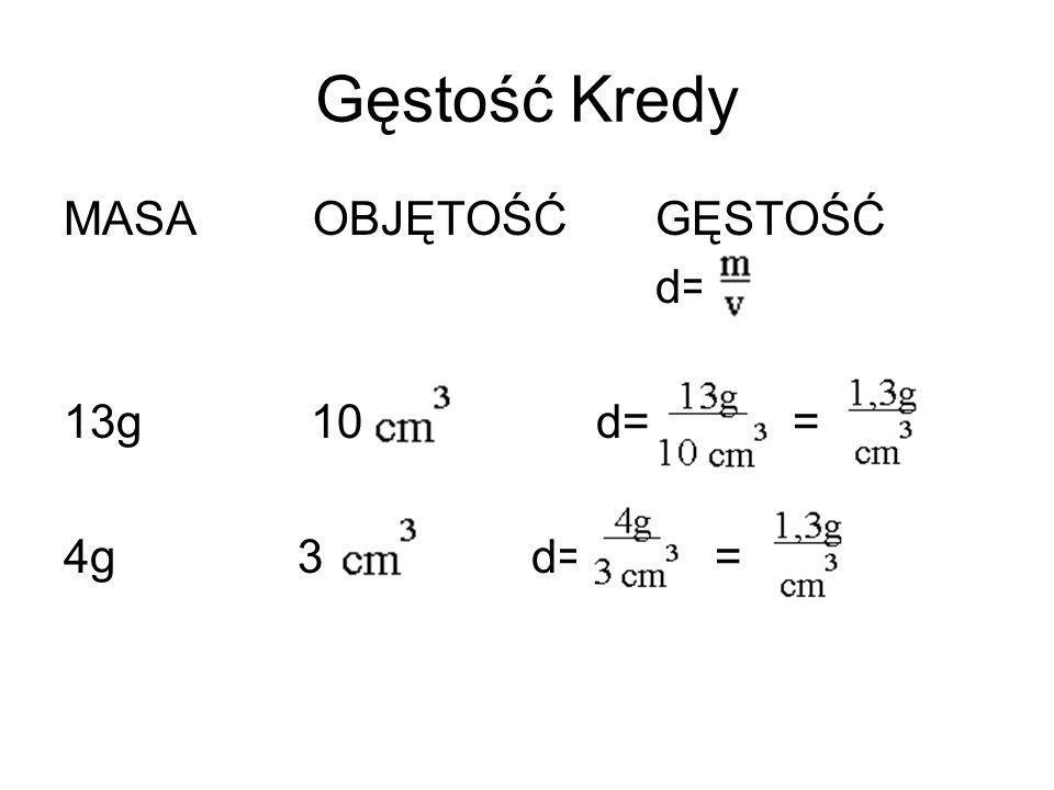 Gęstość Kredy MASA OBJĘTOŚĆ GĘSTOŚĆ d= 13g 10 d= = 4g 3 d= =