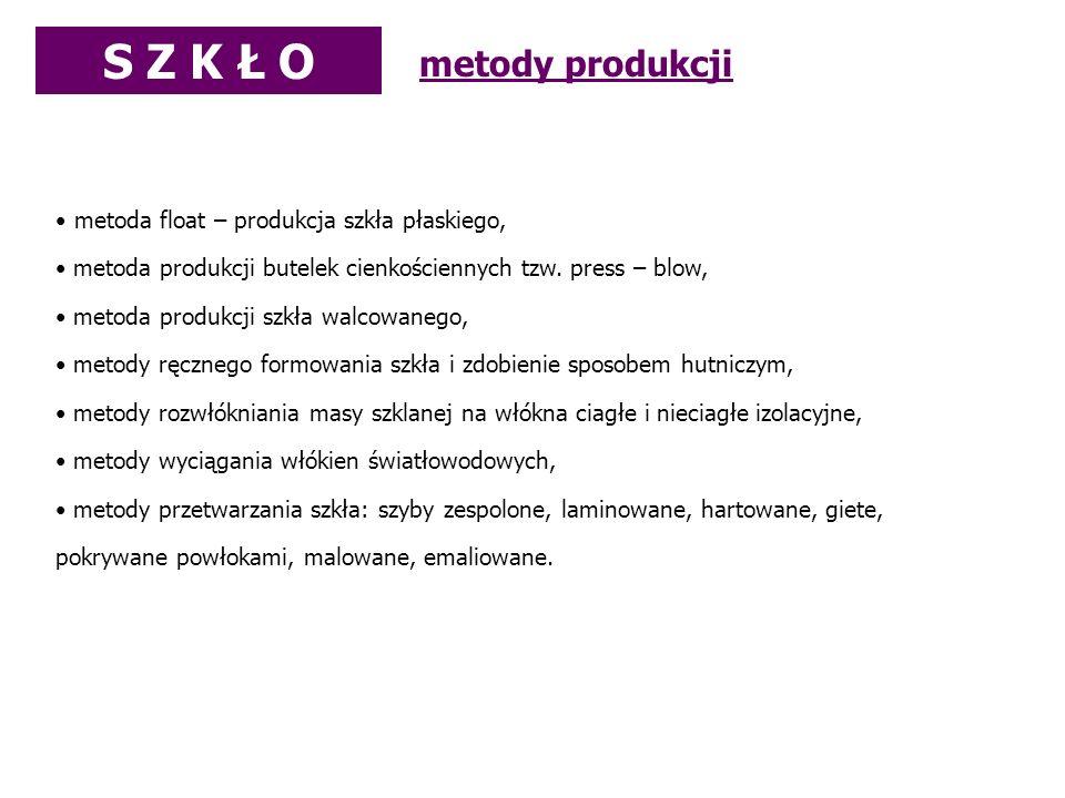 metoda float – produkcja szkła płaskiego, metoda produkcji butelek cienkościennych tzw. press – blow, metoda produkcji szkła walcowanego, metody ręczn
