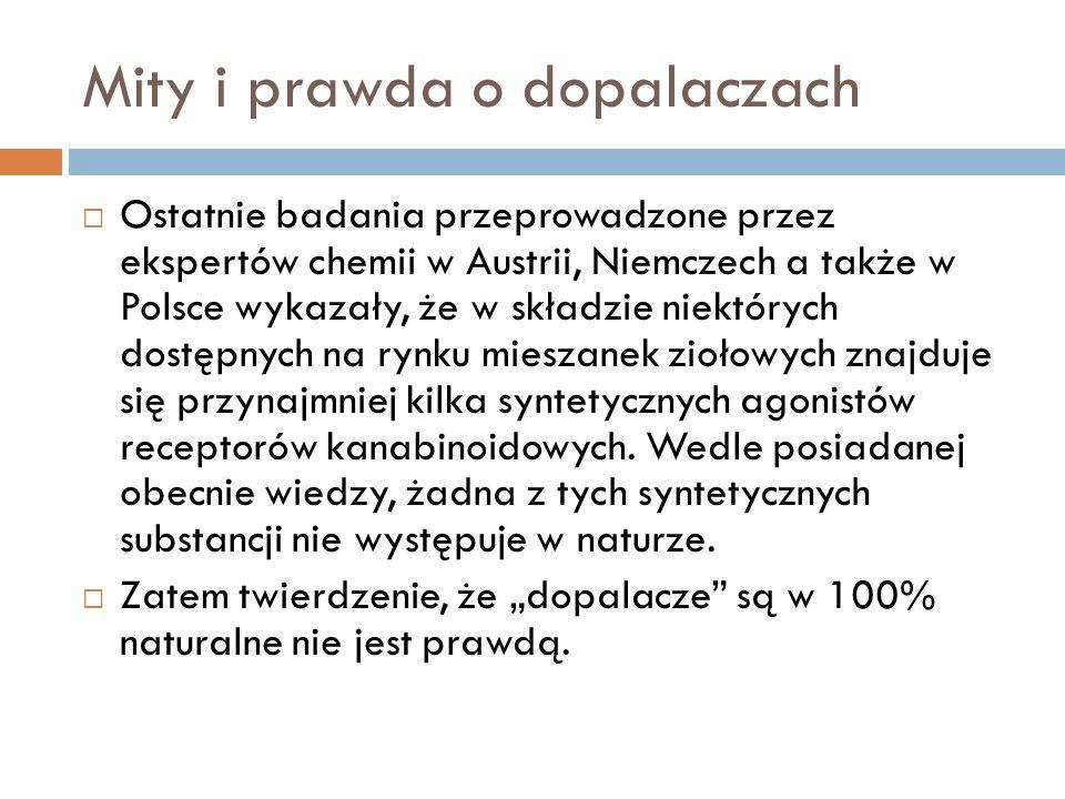 Mity i prawda o dopalaczach Ostatnie badania przeprowadzone przez ekspertów chemii w Austrii, Niemczech a także w Polsce wykazały, że w składzie niekt