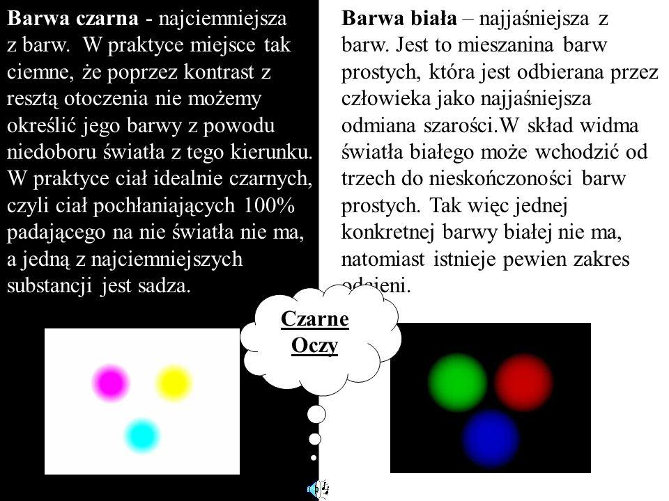 Barwa czarna - najciemniejsza z barw. W praktyce miejsce tak ciemne, że poprzez kontrast z resztą otoczenia nie możemy określić jego barwy z powodu ni